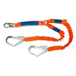 Spanset Ergo Twin Elastic Lanyard 1.4-1.8m c/w Scaf Hks | Spanset Attachments