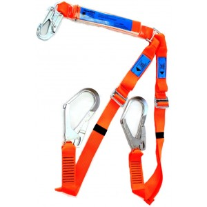 Spanset 1.8m Adjustable Twin Lanyard c/w Scaff Hks | Spanset Attachments